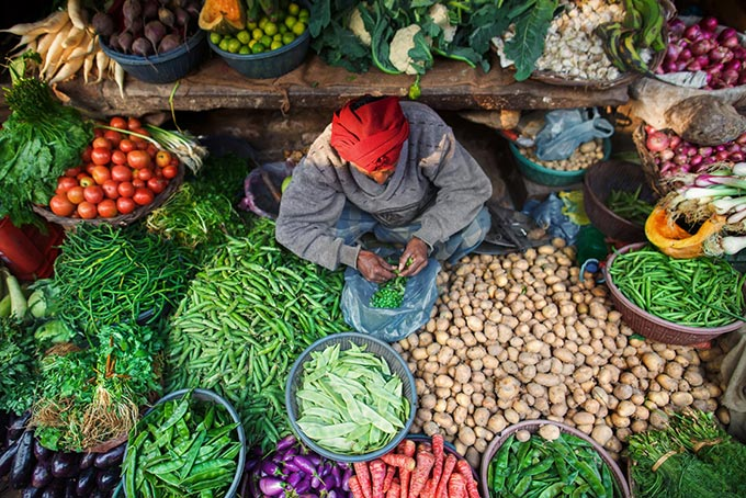 a vegetables stand in India