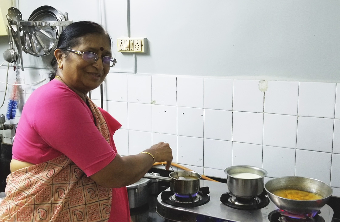 Amma is cooking for us again.