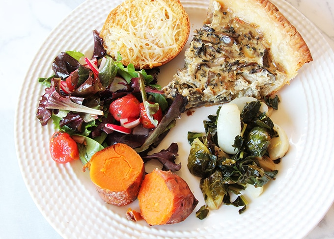 Tartine flaky tart pastry featured on a vegetarian dinner plate