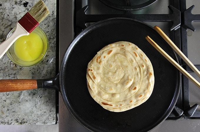 whole wheat paratha flatbread