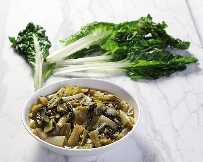 braised leeks and green chard