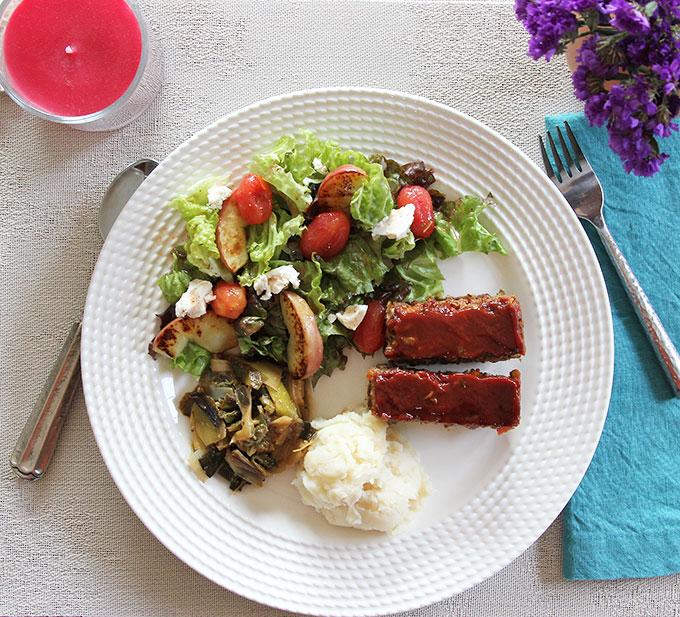 quinoa-lentil loaf dinner menu