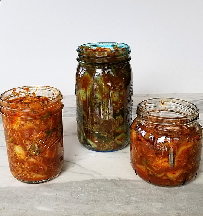 two vegetarian kimchi