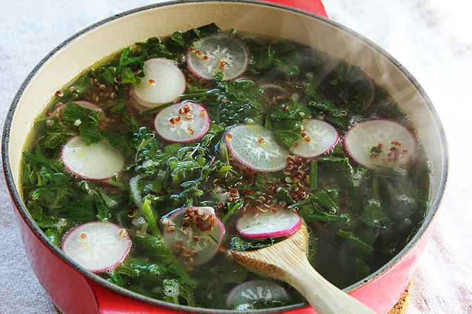 quinoa soup spring greens radish
