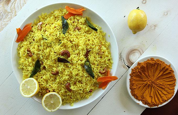 lemon rice turmeric cashews