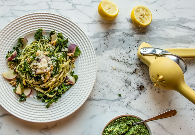 Chewy pasta arugula pesto baby turnips and greens