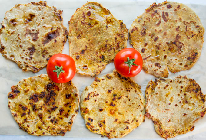 Tomato Paratha with savory caramelized tomato
