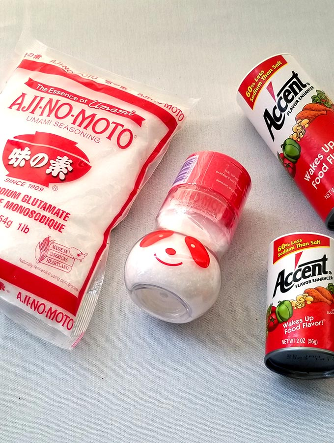 Ajinomoto MSG and Accent MSG bottles