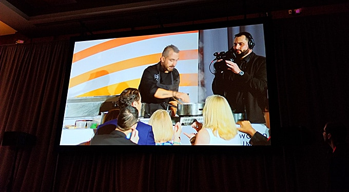 Iron Chef Marc Forgione doing a culinary demonstration at the World Umami Forum on Sept. 20, 2018.