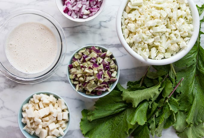 ingredients for cauliflower soup recipe