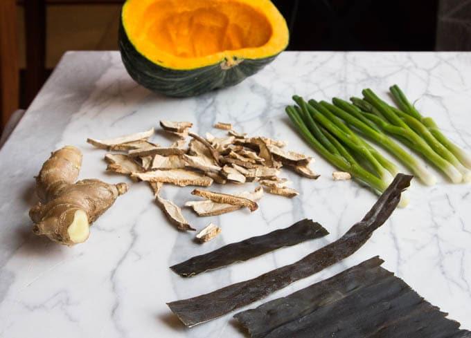 Shiitake Mushroom, Ginger, kabocha squash, kombu seaweed, and scallions
