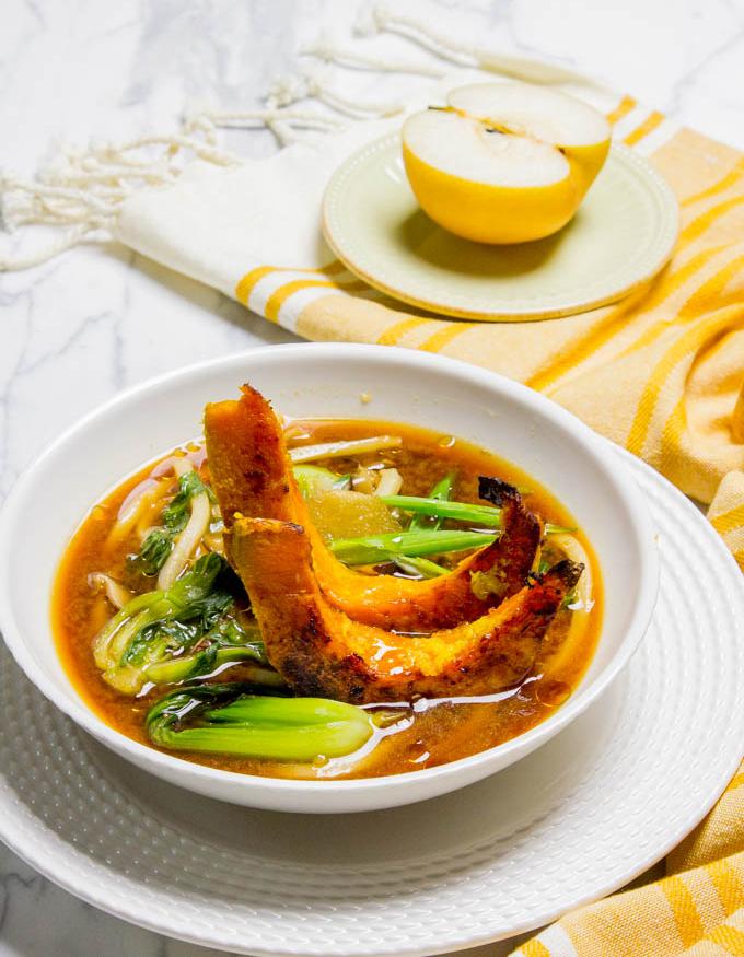 Shiitake Mushroom Miso Broth with Udon and Ginger Squash