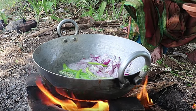 Indian food cooking on the fire