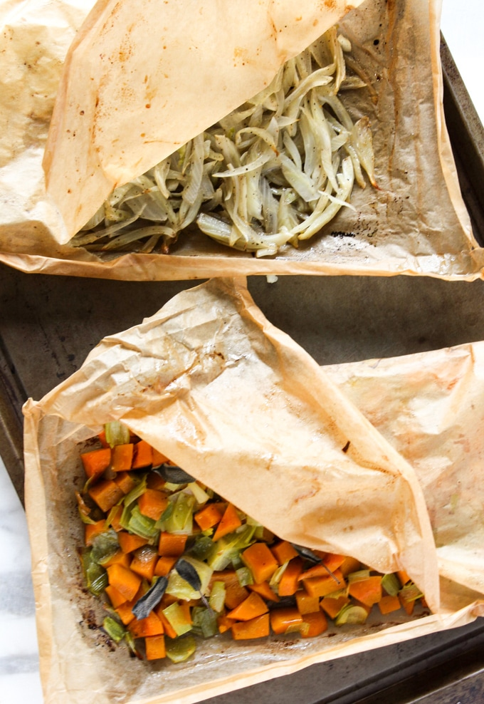 roasted vegetables in parchment