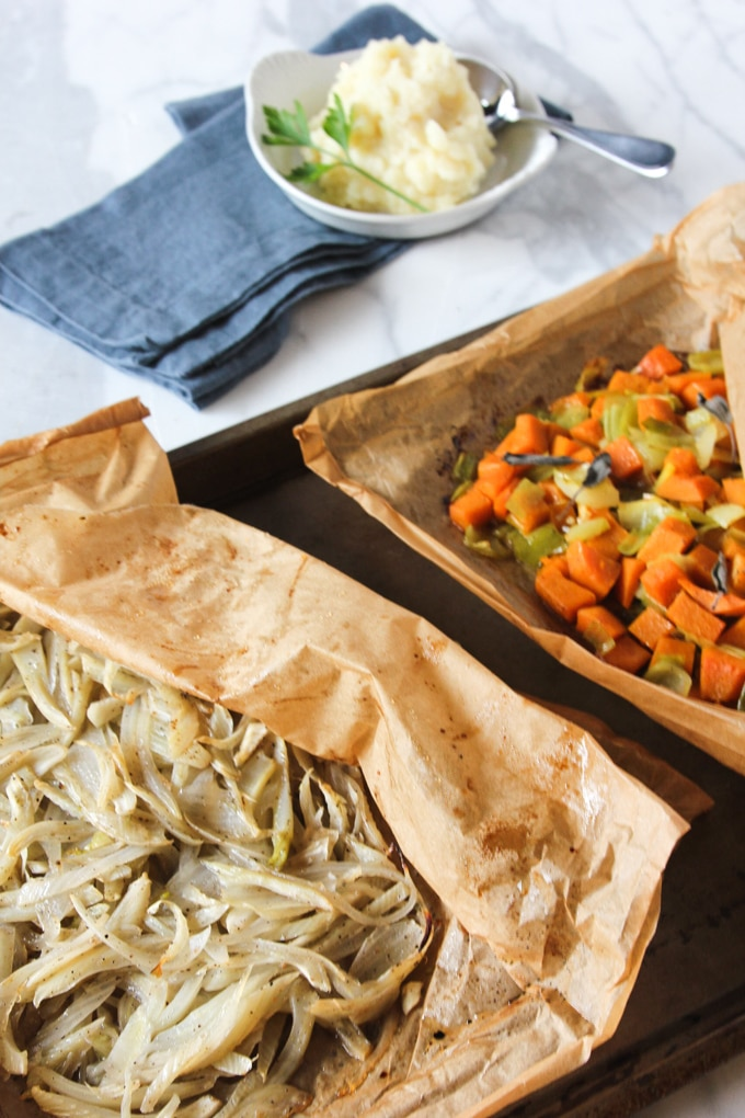 roasted vegetables baked in parchment