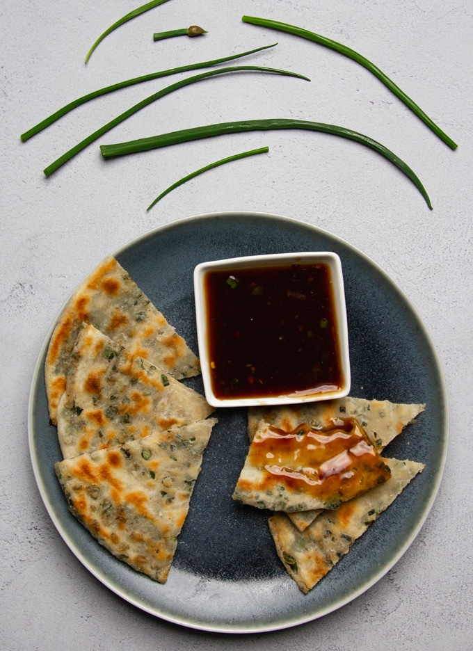 Chinese scallion pancakes with dipping sauce
