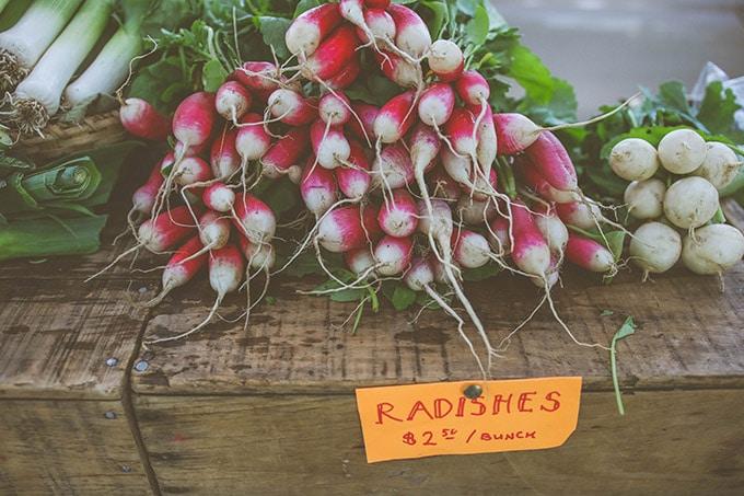 radishes at the farmer's market