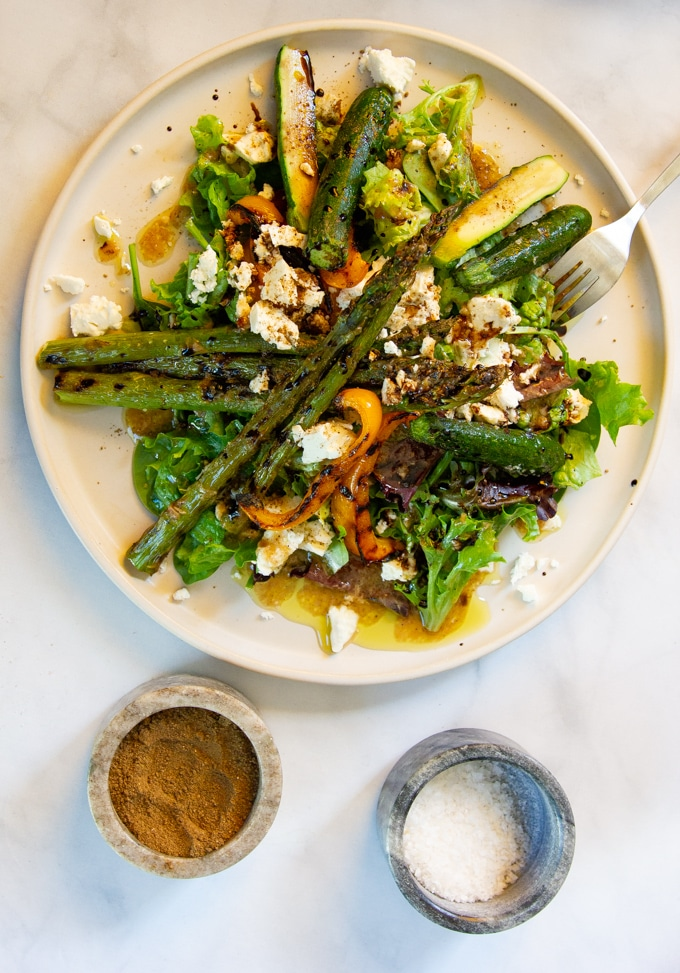 Grilled Vegetable Salad With Roasted Garlic Vinaigrette and Feta