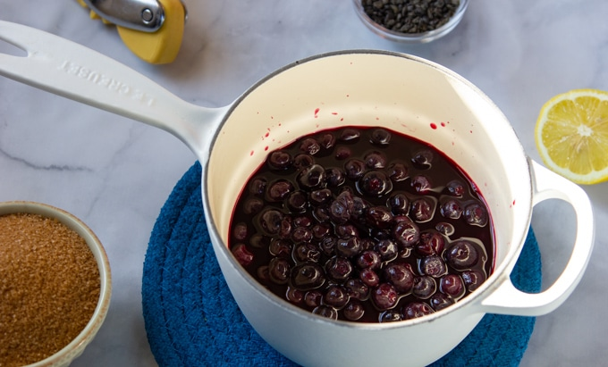 blueberries simmered with raw sugar and lemon