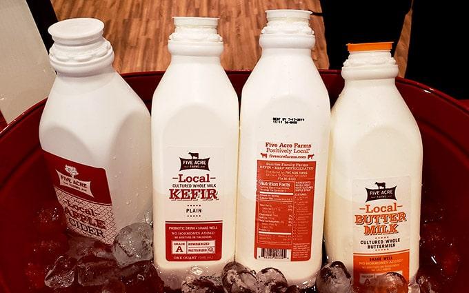 Five Acres dairy bottles
