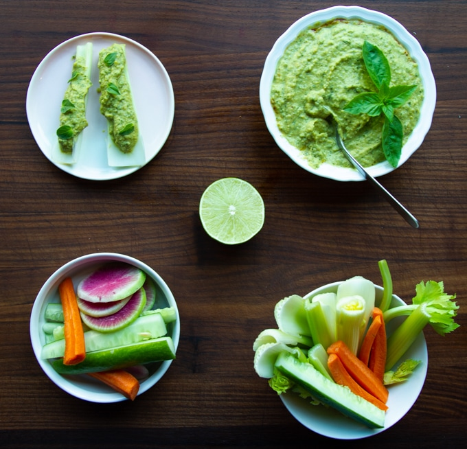 different ways to enjoy basil lime hummus