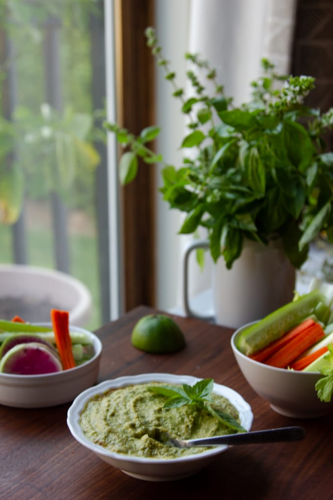 basil lime hummus by the window