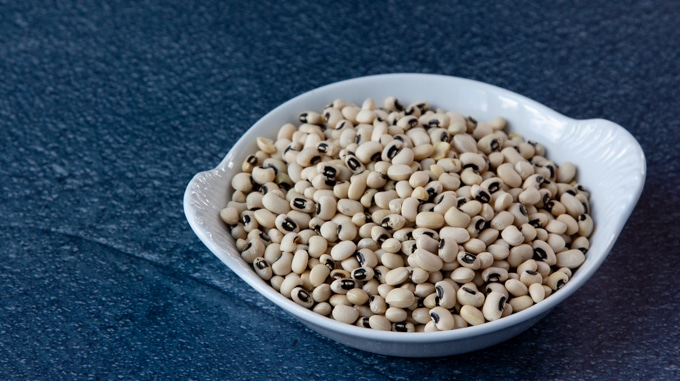 Cow peas, also known as black-eyed peas
