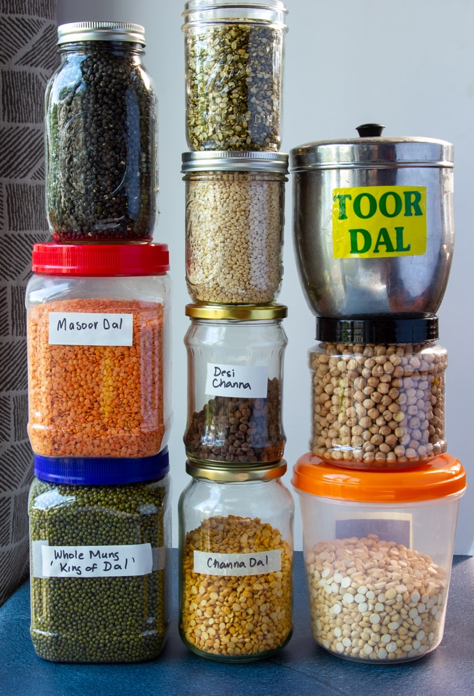 A pantry filled with Indian dal, beans and lentils.