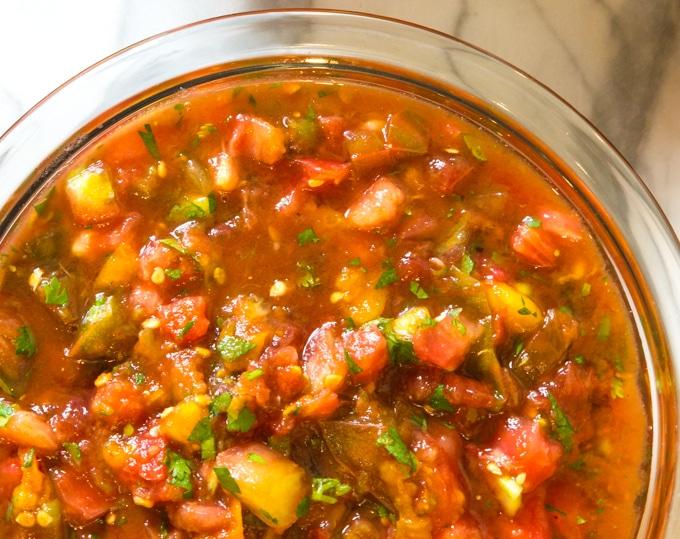 garden tomato salsa in a bowl